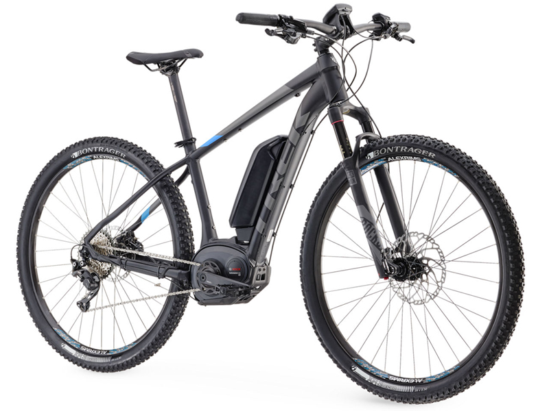 Trek Ebike Power Assisted Mountain Bike for hire or demo at blazing bikes and mountain edge shropshire
