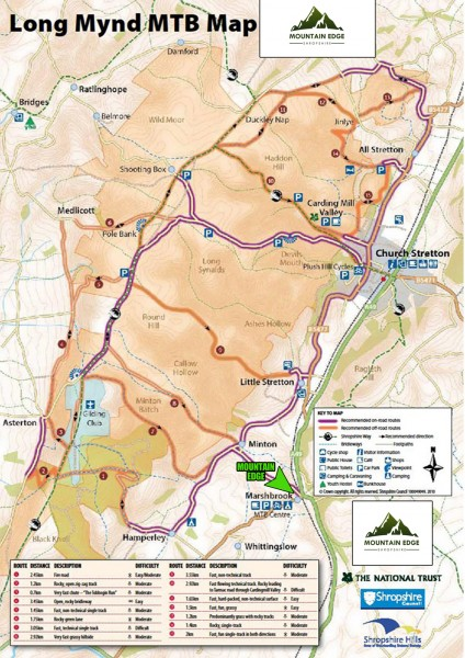 a4 mtb long mynd mountain bike trails map mountain edge shropshire